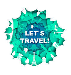 Lets travel poster template vector