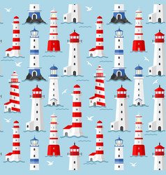 lighthouse seagulls and waves vector image