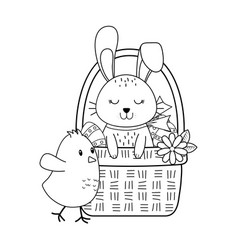 little rabbit and chick in basket easter vector image