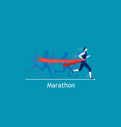 Man sprint running to win on blue background vector