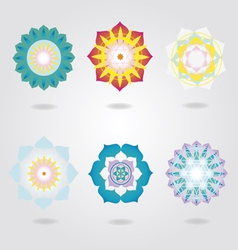 Mandalas icons set vector