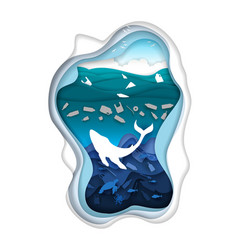 marine pollution in paper art vector image