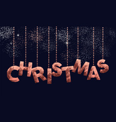 Merry christmas low poly copper sign greeting card vector