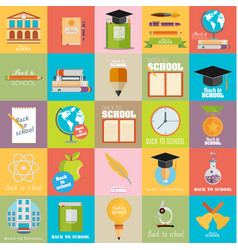 Modern school flat design flyers templates vector
