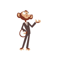 monkey businessman cartoon character funny animal vector image
