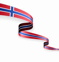 Norwegian flag wavy abstract background vector
