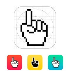 One finger Pixel hand cursor icon vector image