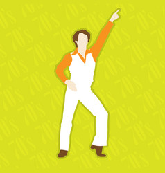 Retro disco dancer - dancing man in 1970 style vector
