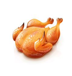 Roasted chicken chick meat vector