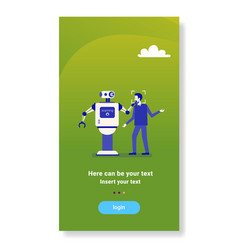 robot scanning man face getting access face vector image