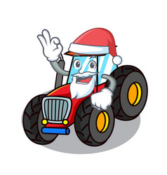 Santa tractor mascot cartoon style vector