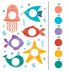 Sea animals color matching game for kids vector