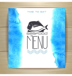 Seafood menu design with fish vector image