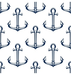 Seamless marine pattern with blue ship anchors vector image