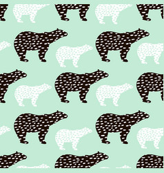 Seamless pattern with polar bear silhouette vector