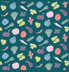 seamless pattern with vegetables food print vector image