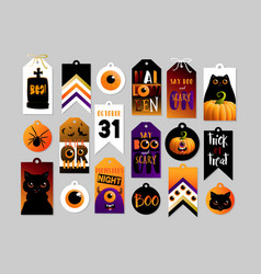 Set halloween gift tags cute and scary label vector