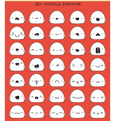 Set of 70 stickers cute sketch characters with vector image vector image