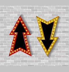 Set of color arrows with bulb lamps vector