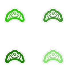 Set of paper stickers on white background diadem vector