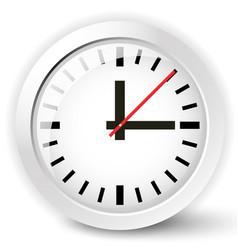 shiny clock icon with reflection and shadow effect vector image