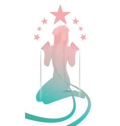 silhouette girl naked under seven stars vector image