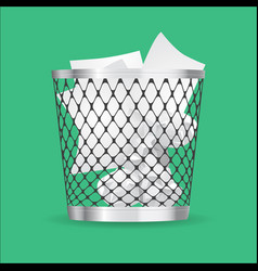 steel trash can with paper garbage realistic icon vector image