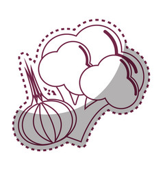 Sticker silhouette broccoli and garlic vegetable vector