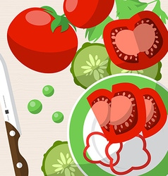 Still life with tomatoes knife plate and sliced vector image