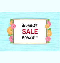 Summer flowers frame or summer floral design on vector