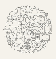 summer line icons circle vector image
