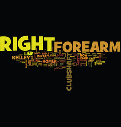 The magic of the right forearm text background vector