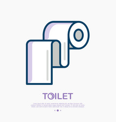 toilet paper thin line icon vector image