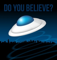 Ufo above city vector image