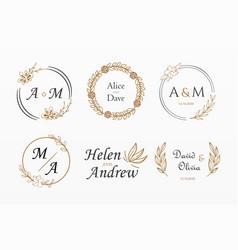 Variety ornamental wedding set vector