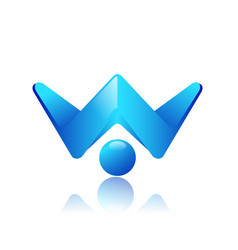 W letter tech logo design vector