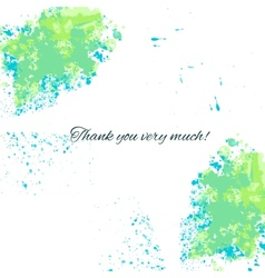 Watercolor blue-green background with thankful vector image