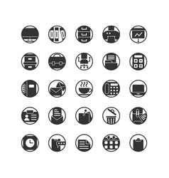 Work office solid icon set vector