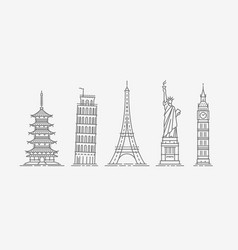 world architectural attractions travel icon set vector image