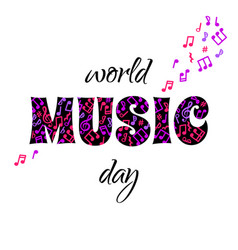 world music day concept greeting card vector image