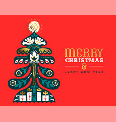 year retro gold folk pine tree card vector image