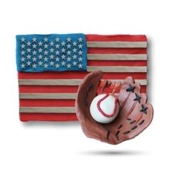Baseball handmade glove and ball vector image
