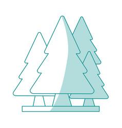 blue shading silhouette cartoon set green pine vector image vector image