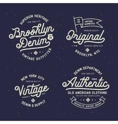 Denim typography t-shirt design set vector image vector image