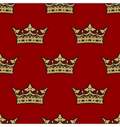Golden crown seamless background pattern vector image vector image