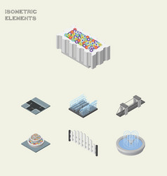 isometric architecture set of fountain highway vector image