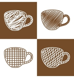 Set of hand drawn cups vector image vector image