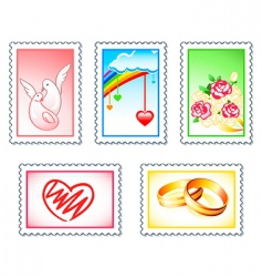 wedding stamps vector image vector image