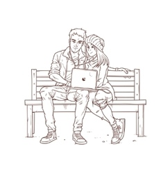 Young couple sitting on a bench and listen to vector image vector image