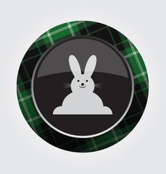 Button green black tartan - smiling rabbit icon vector